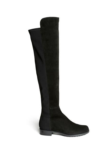 stuart weitzman shoes stuart weitzman elastic back suede boots in black lyst