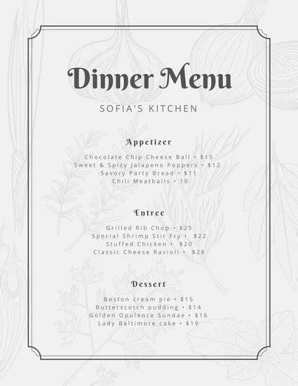 Formal Dinner Menu Template by Dinner Menu Template Dinner Menu Templates Classic
