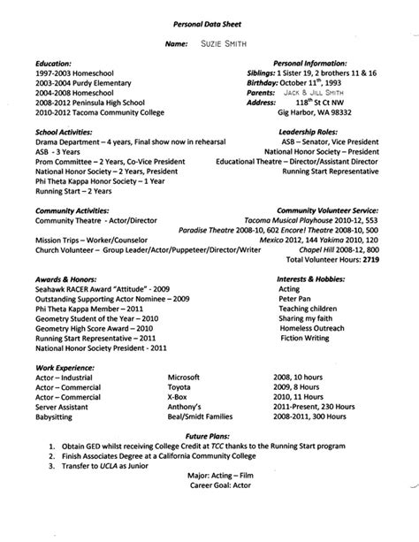 personal data sheet exle s school site