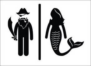 Nautical Themed Jewelry - pirate mermaid restroom door sign premium vinyl decal