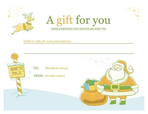 Christmas Gift Certificate Template Template For Word 2013