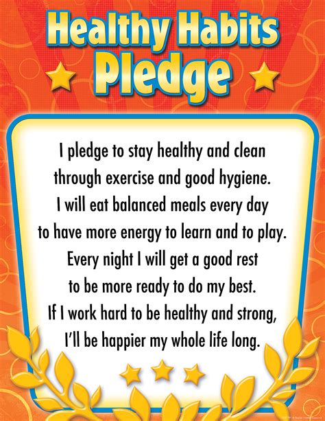 Healthy Habits For Healthy Chart Healthy Habits Pledge Chart Tcr7791 Created Resources