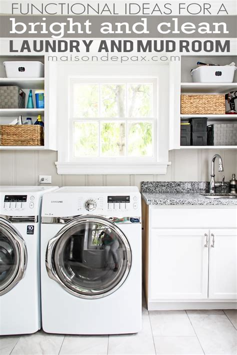 bright white laundry  mud room maison de pax