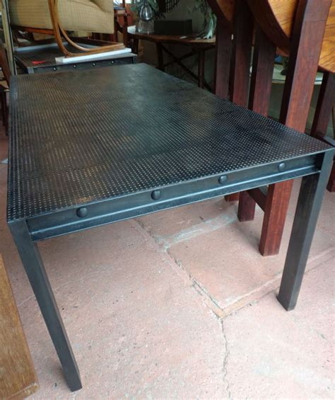 Punched Metal Table L by Steel Parsons Dining Table With Perforated Metal Top At 1stdibs