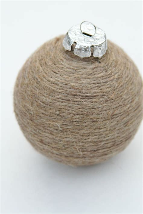 christmas ornament jute twine shabby chic nautral bowl