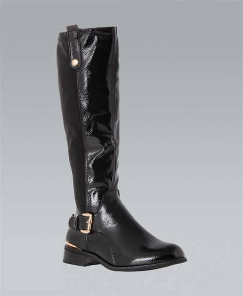 krisp black patent knee high boots krisp from