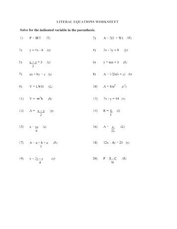Literal Equations And Formulas Worksheet by 14 Best Images Of Literal Equations Worksheet Printable