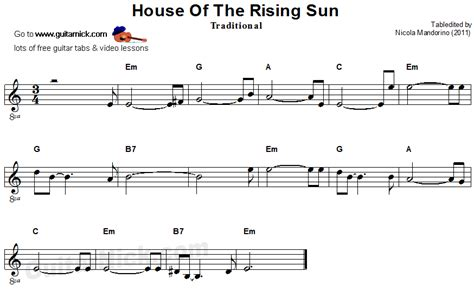 House Of The Rising Sun Guitar Lesson by Gallery Free Guitar Sheet For Beginners Reference