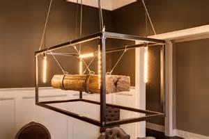 Metal Framed Wood Beam Chandelier Id Lights