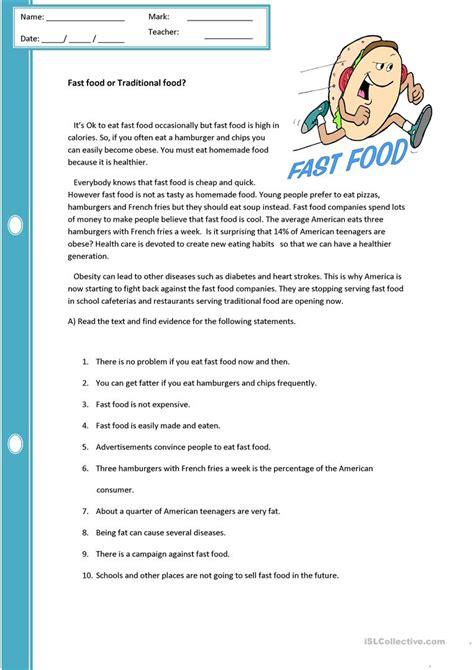 reading comprehension test about food fast food or traditional food worksheet free esl