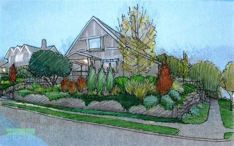 garden creation   draw  perspective sketch