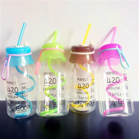 Children Colorful Creative Portable Cup Drink Bottle Botol M 420ml summer unbreakable water bottle plastic portable sports bottle with straw my creative