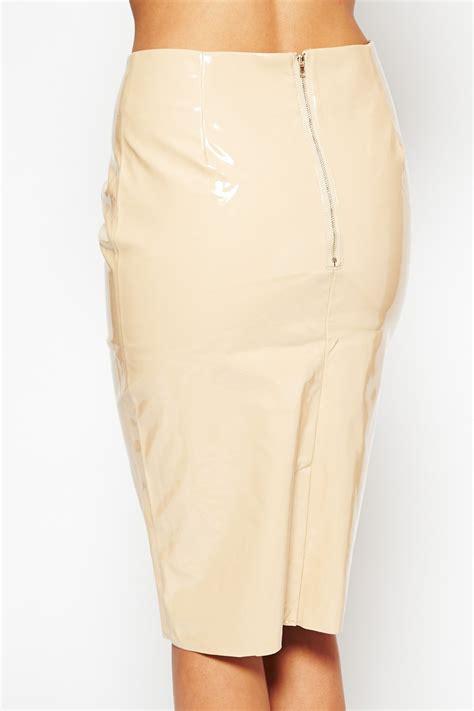 kimmy k shiny pvc midi skirt