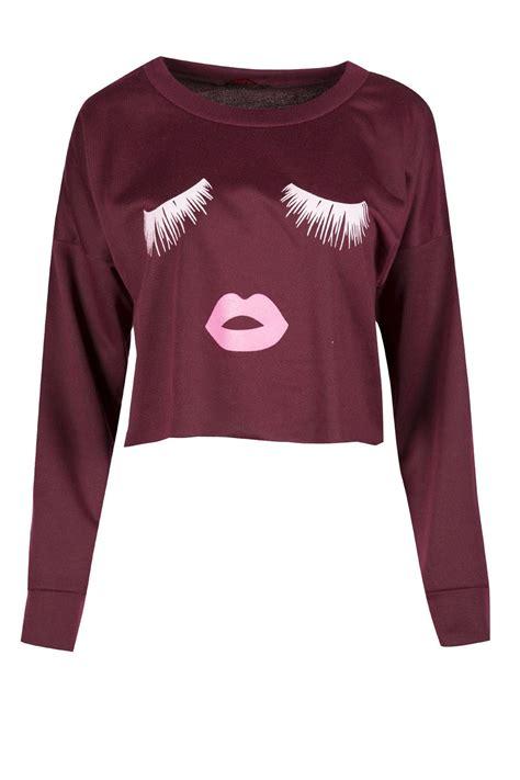 Sweater Crop Top Murah Bahan Flecee 1 womens eyelash crop top fleece knit sleeve pullover sweatshirt ebay