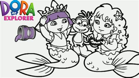 dora coloring pages nick jr dora the explorer mermaid princess nick jr coloring book
