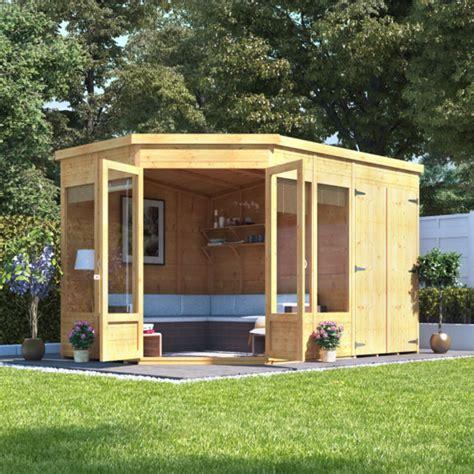 designer summer houses billyoh penton corner summerhouse with side store summer houses garden buildings direct