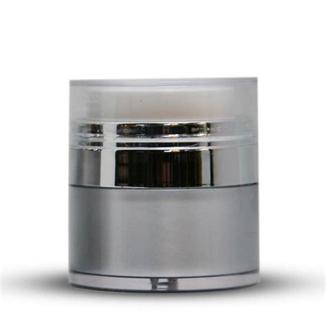 chrome jar 15ml silver with chrome airless jar with cap new