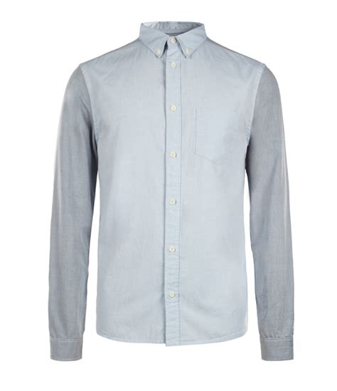 Shirt Oxford Soft Blue Line Mix Grey lyst allsaints emmons sleeved shirt in gray for