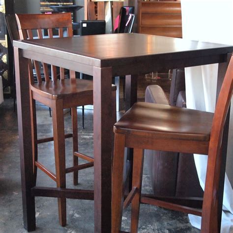 10759 high top bar style wood table with 2 chairs the