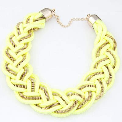 Kalung Korea Choker Pendant Decorated Hollw Out Weaving roller yellow metal decorated weave design alloy bib necklaces asujewelry
