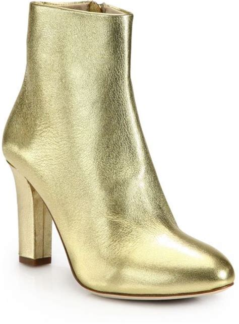 jerome c rousseau metallic leather ankle boots in gold lyst