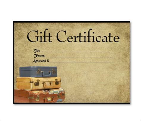 Vacation Gift Certificate Template 10 travel gift certificate templates free sle