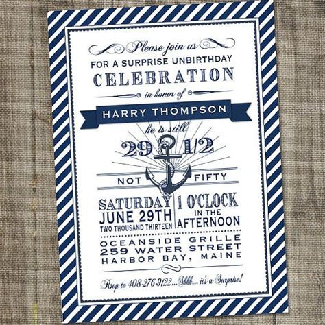 love boat theme dress up navy and white nautical 50th surprise birthday printable