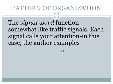 sequence pattern of organization signal words pattern of organization