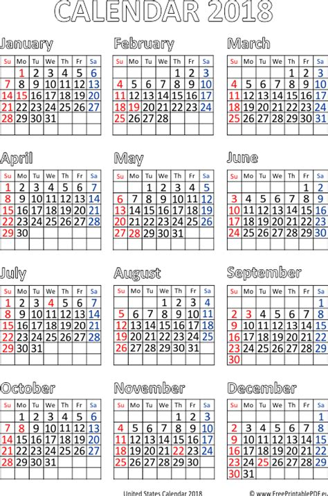 printable calendar 2018 usa january 2018 calendar usa 2018 calendar printable for