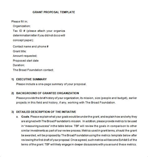 Simple Grant Proposal Template One Piece Simple Grant Template