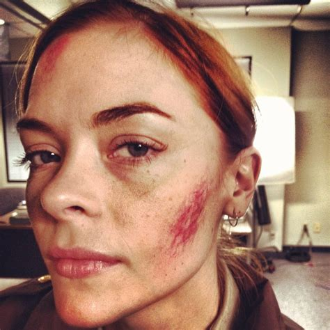 a bruised jaime king on the set of silent night bloody