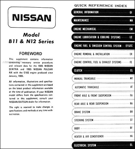 service and repair manuals 1993 nissan nx electronic toll collection 1985 5 nissan sentra pulsar nx shop manual supplement original repair service