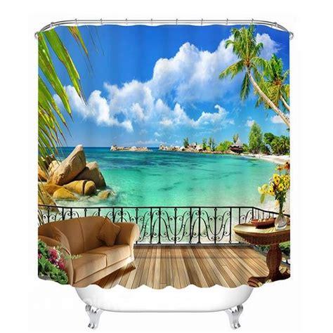 beach scene shower curtains beautiful beach scene outside the balcony print 3d