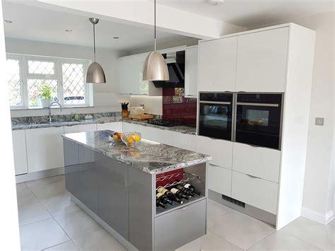 white and grey gloss kitchen hallmark kitchen designs