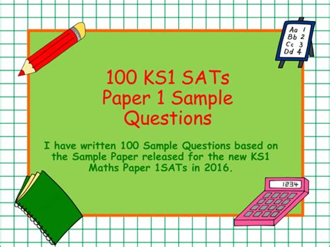 new year 2016 teaching resources ks1 new 2016 ks1 sle maths arithmetic paper 1 and questions