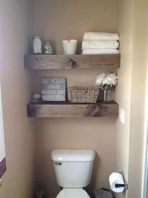 Barn Wood Shelving Above Toilet In Bathroom Bathroom Wooden Bathroom Shelving