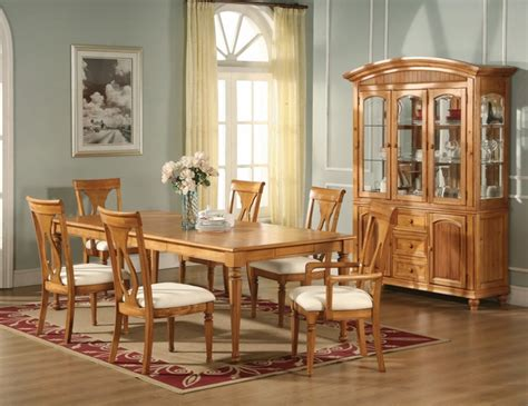 formal dining light oak table chairs homelegance