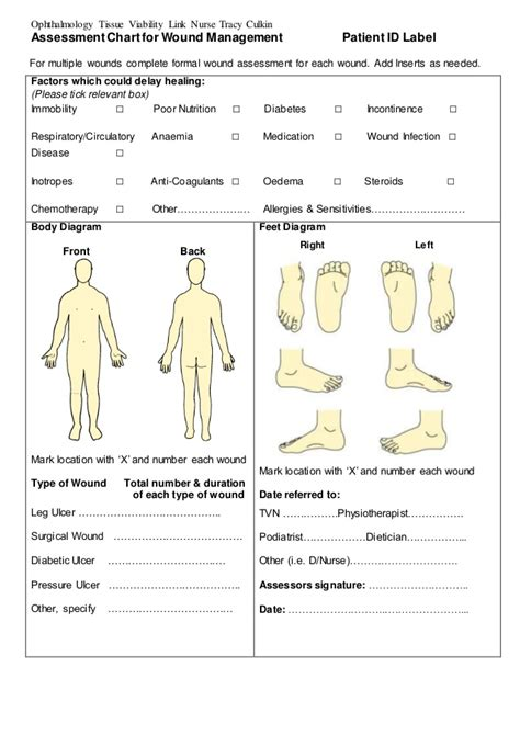 wound chart template assessment chart for wound management patient id lab