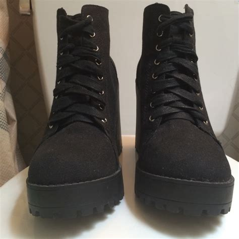 68 h m shoes h m black canvas heeled boots from