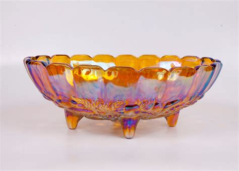 reserved for gail vintage carnival glass footed bowl oval