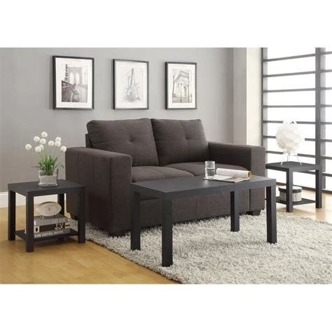 coffee table end table set 3 coffee and end table set in black 5082096