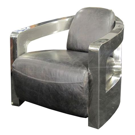 leather chair metal arms four carnegie sinclair grey leather club chair