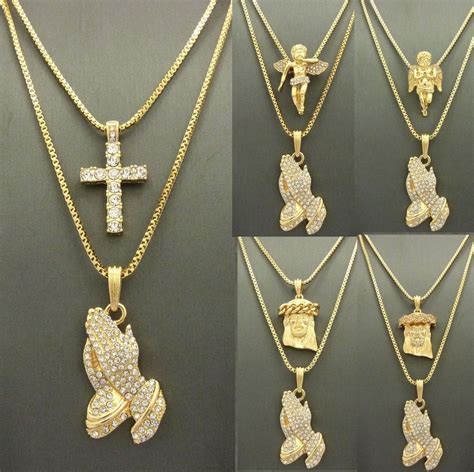mens iced out gold jesus praying micro pendant