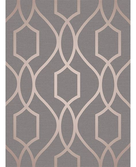 Brown And Blue Home Decor Apex Geometric Trellis Wallpaper Charcoal Grey And Copper