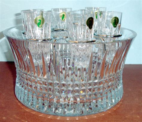 glasses with chilling bowls waterford lismore vodka set chill bowl 6 shot