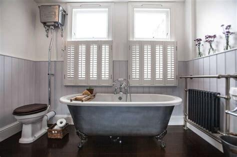 shower rail for roll top bath vintage inspired bathroom high level cistern toilet roll top bath towel rail shutters