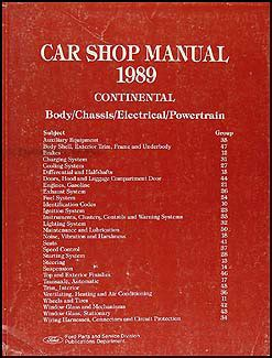 1989 lincoln continental repair shop manual original