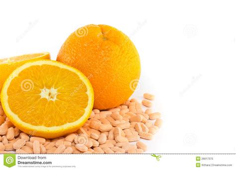 fruits w vitamin c orange fruit with vitamin c tablet stock image image
