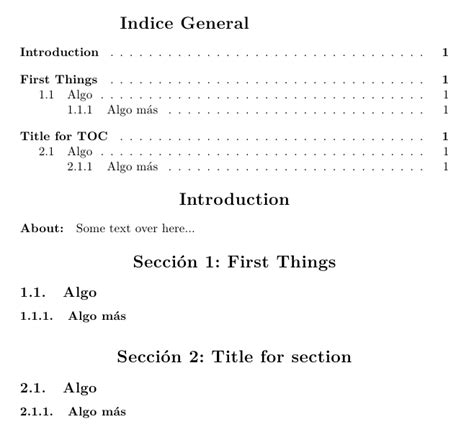 what are the first three subsections in the medicine section table of contents how to get section without numbers in