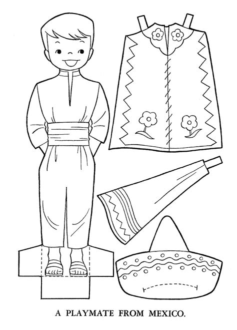Mexican Dresses Coloring Pages | mexican clothing coloring pages